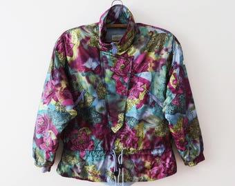 Vintage 80s Floral Ski Jacket Etirel Women Snow Jacket Turquoise Purple Anorak Jacket Winter Ski Suit Jacket Short Puffer Coat Size Medium