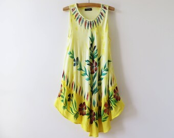 Vintage 80s Yellow Tent Dress Summer Dress Asymmetric Dress Embroidered Dress Floral Dress Boho Viscose Dress Hippie Indian Dress Large