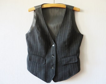 Gray Striped Vest Wool blend Women's Formal Waistcoat Steampunk Plus Size XL Large