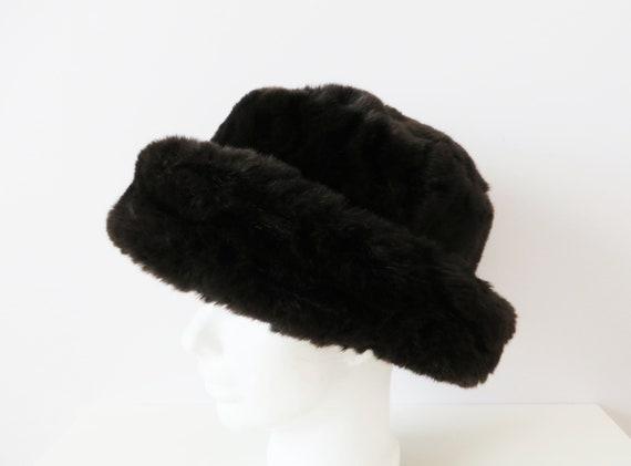 Vintage 80s Women Winter Hat Brown Vegan Fur Hat Women s  a9042f5a3237