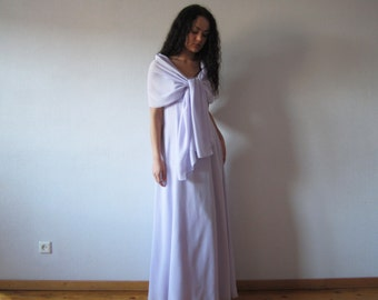 Mauve Bridesmaid Dress with Chiffon Scarf Light Lavender Maxi Empire Waist Evening Party Prom Dress Wedding Gown Medium