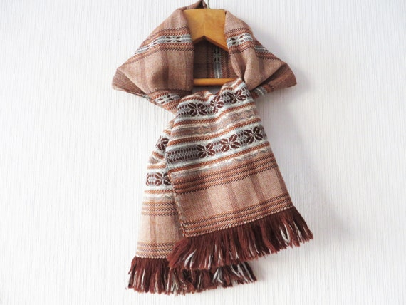Vintage 80s Handwoven Wool Scarf Fringed Nordic Sc