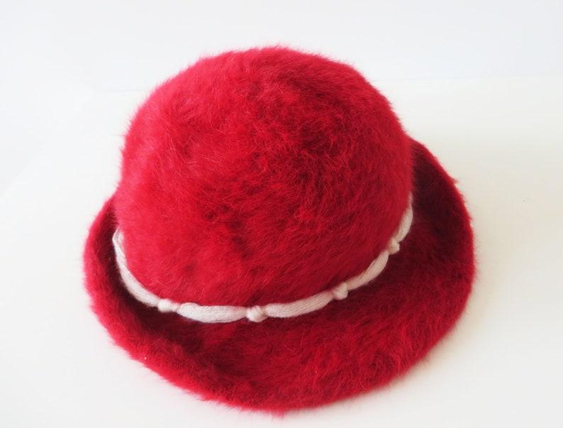 293a2249f25 Vintage Crimson Red Angora Hat Rabbit Hair Hat Formal Women