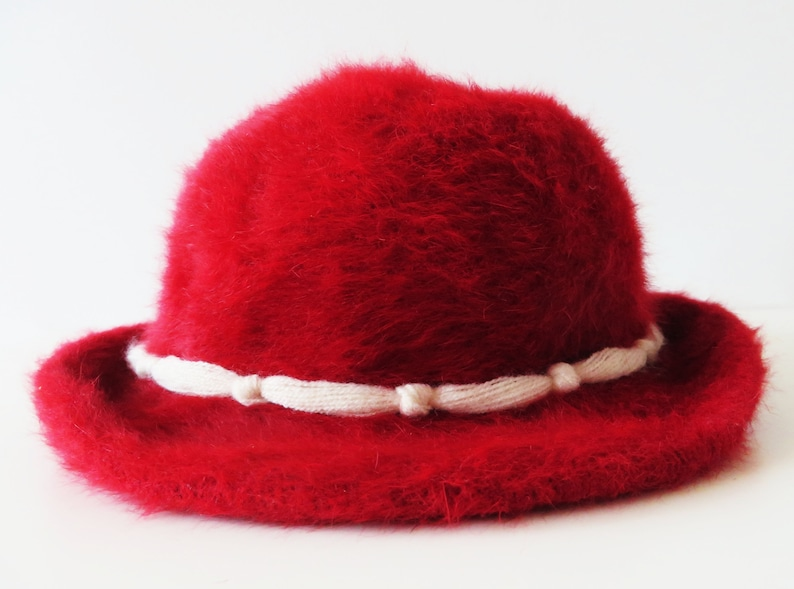 a5304dec2b4 Vintage Crimson Red Angora Hat Rabbit Hair Hat Formal Women