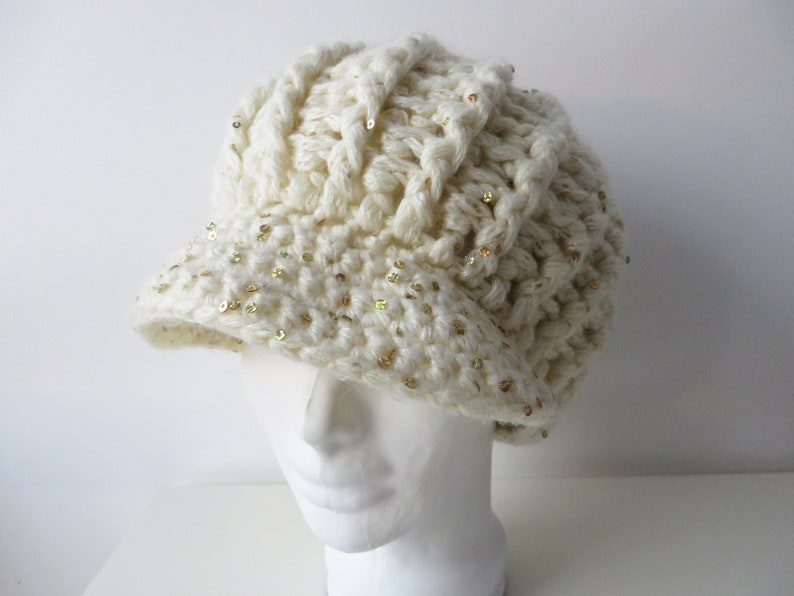 Ivory White Chunky Beret Knit Slouchy Hat Thick Bulky Handknit Warm Winter Women/'s Hat with Sequins Large Knitted Beret Cap Gift for Her