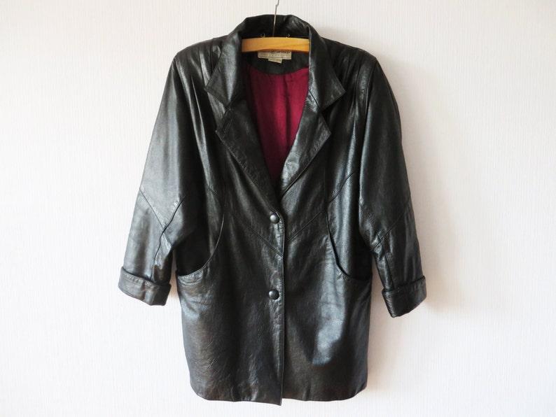 785dd30a48ed Vintage 80s Black Leather Trench Coat Avant Garde Bat Sleeved