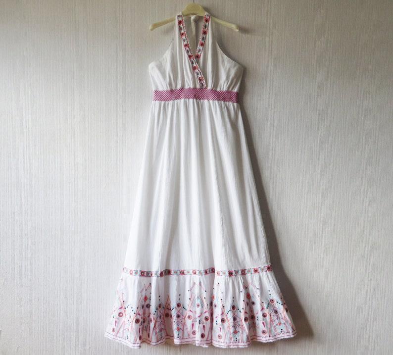 White Gauze Dress White Maxi Dress Embroidered Dress White Etsy