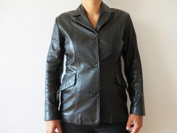 927f4516839 Black Leather Jacket Women Genuine Leather Blazer Short Trench