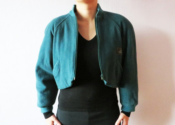 Hipster Eagle Cropped Medium 80s Green Winter Bomber Wool Emerald Warm to Padded blend Cashmere Large Jacket American Outdoor Blazer Jacket I4fqZSgw