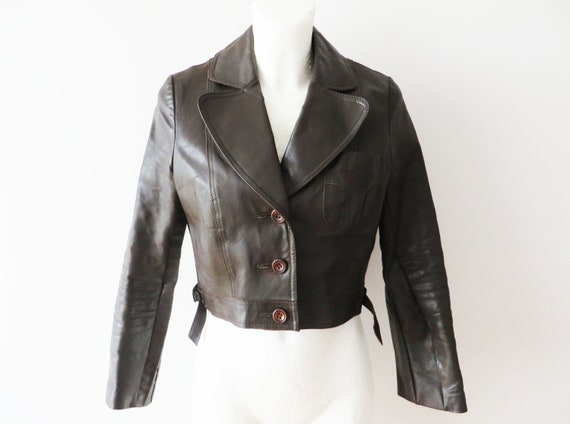 70s Brown Leather Jacket Cropped Genuine Leather W