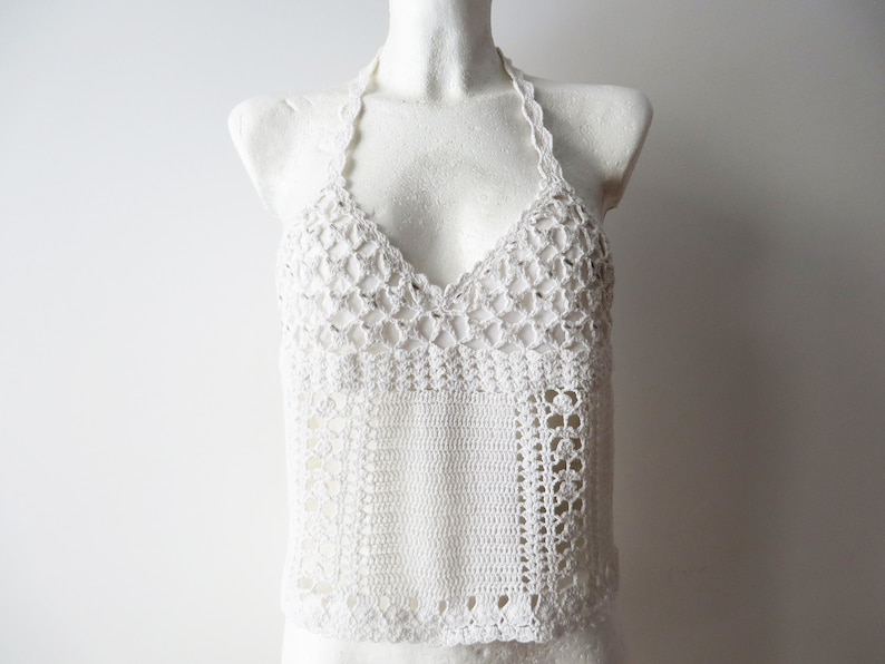 Ivory Cotton Halter Top Crochet Summer Crop Top Crocheted Tank Top White Open Back Top Summer Beads Embroidered Bustier Gift for Her Medium