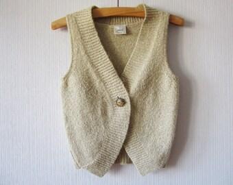 Ivory Beige Sweater Vest Mohair blend Knit Winter Pullover Vest Size Medium
