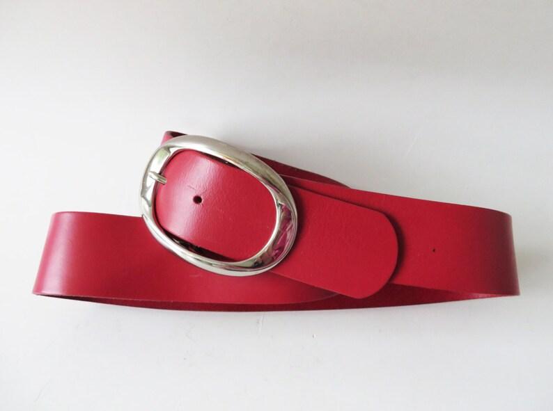 295d354ffd27e2 Rote Leder Gürtel dickes Leder Gürtel Metall Gürtelschnalle | Etsy