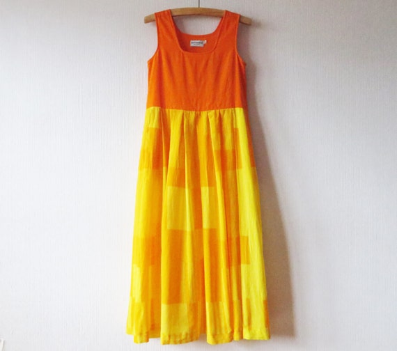 Vintage MARIMEKKO Dress Hot Orange Yellow Dress Ma