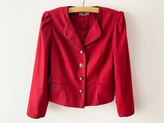 Vintage red Austrian dirndl trachten blazer jacket with sweet floral embroidery size S
