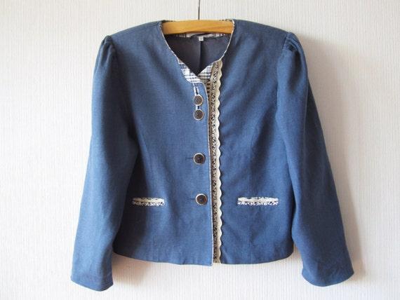 salvare ac8d9 215fb Denim giacca di lino blu donne Dirndl tedesco Trachten Loden Cardigan  Blazer bavarese tradizionale Festival austriaco tirolese medio-grandi