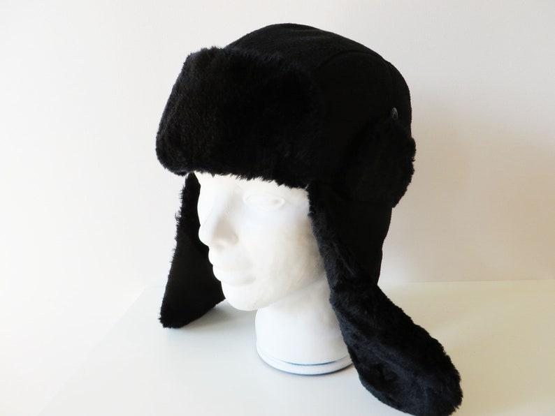 bffc652cb Black Ushanka Hat Faux Fur Winter Hat Wool blend Ear Flaps Trapper Trooper  Black Traditional Russian Winter hat Gift for Her Him