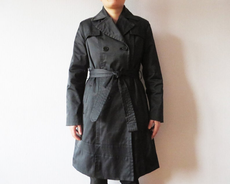 super popular 80db1 361ee DKNY Black Trench Coat Navy Double Breasted Coat Strong Trench Donna Karan  Raincoat with Belt Designer Women's Trenchcoat Size Medium
