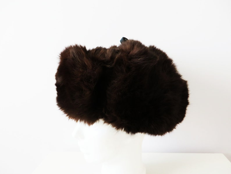 Ushanka Hat Ear Flaps Trapper Trooper Rabbit Fur Winter Hat Soviet Vintage 70s Chocolate Brown Traditional Russian Winter hat Gift for Her