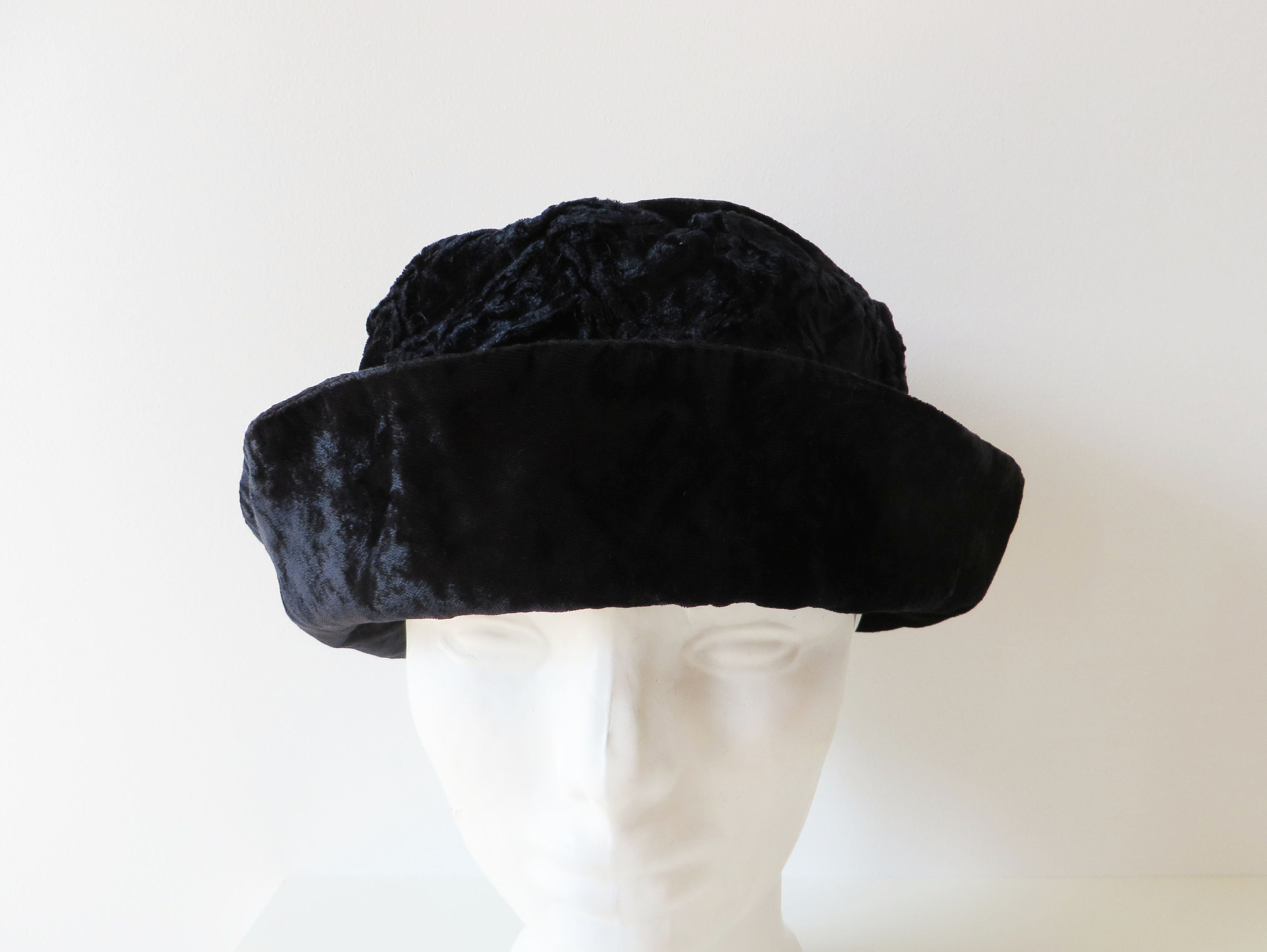 Vintage 90s Women Velvet Hat Black Women s Hat Elegant  bb1560933528