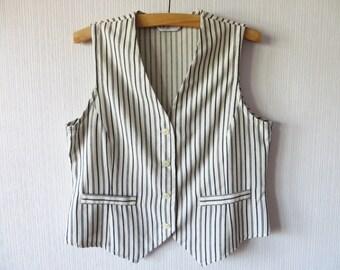 Ivory White Striped Vest Women's Light Summer Linen Blend Waistcoat Large Size