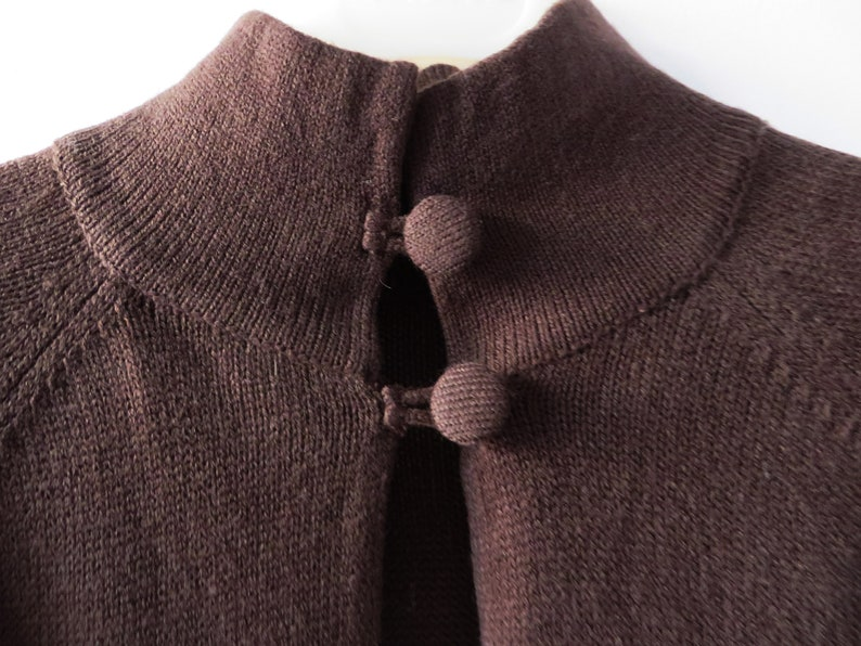 Brown Bolero Jacket Cropped Knitted Cardigan Short Sleeve Knit Women Jacket Gift for Her Size Large