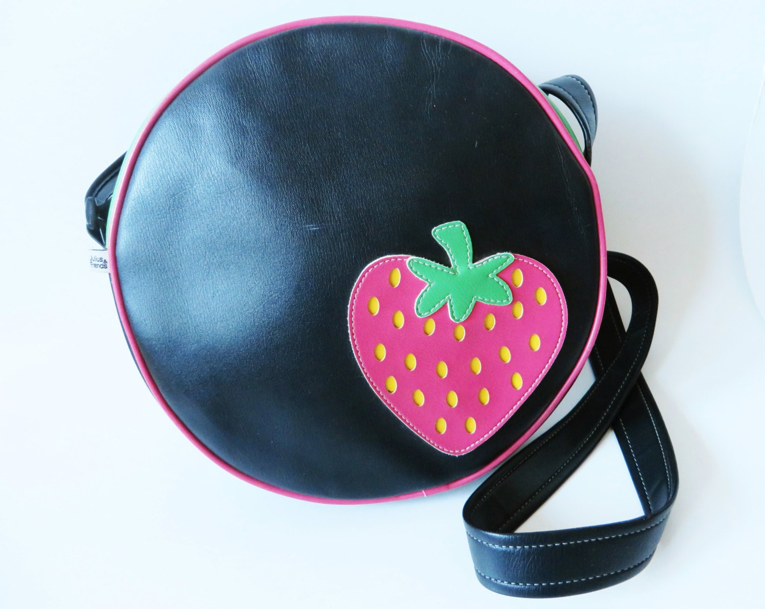 Black Vegan Leather Round Shoulder Bag Red Strawberry Vinyl  7216c0236f7bf
