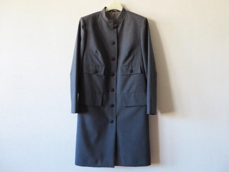 super popular eb154 63b35 Graue lange Blazer Damen grau leicht Mantel lange formale Jacke Stehkragen  Büro Jacke grau Mantel Kleid Sekretärin Outfit Mittel Größe