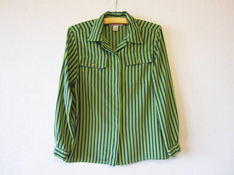 aca20ab1c4782 Vintage 80s Striped Blouse Blue Green Silky Blouse Long Sleeve