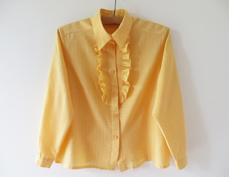 Vintage 80s Peach Orange Blouse Women Ruffled Jabot Top Button up Long Sleeve Secretary/'s Blouse Gift for Her Large Size Blouse