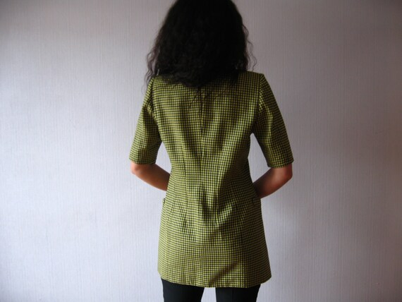 Cashmere Vintage Blazer Ley Black 80s Jacket Jacket Blend Houndstooth Margaretka Fitted Yellow Plaid Escada Wool qZ4qzU