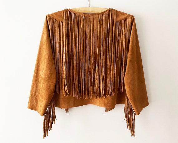 Cowgirl Fringe Jacket Caramel Brown Vegan Suede Le