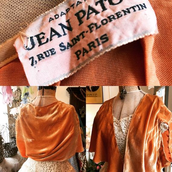Jean patou vintage french designer silk velvet shr