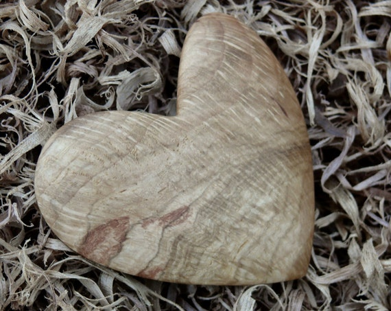 Wood Heart Hair Clip, 70mm French Clasp