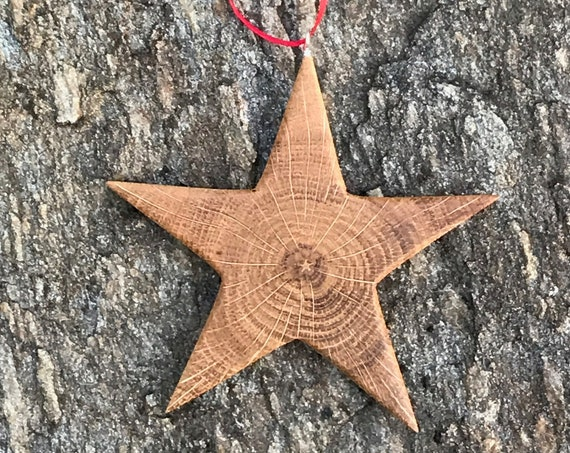Natural wood Ornament, Star ornament