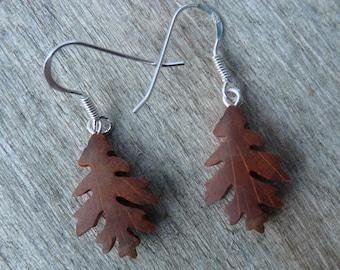 Teeny Tiny Oak leaf Wood Earrings, Natural jewelry, Itty Bitty silver leaf earrings, Dangle drop Leaf jewelry, Boho Hippie earrings,
