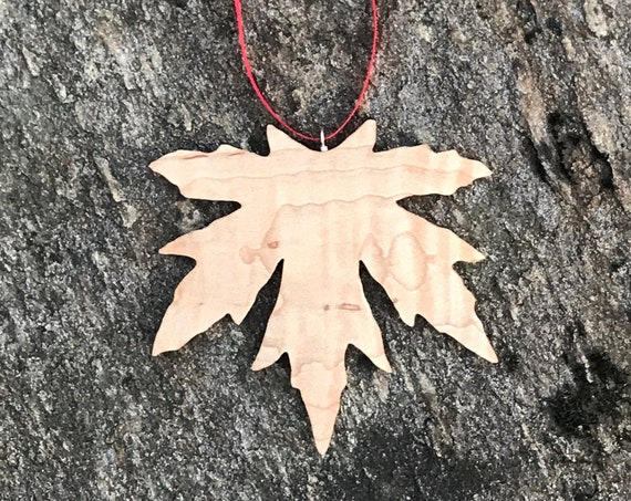 Natural Wood Ornament, Maple Leaf Ornament