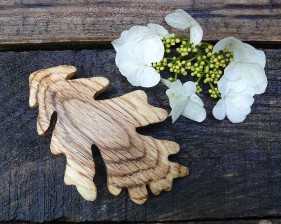Oak Wood Hair Clip, 80mm French Clasp