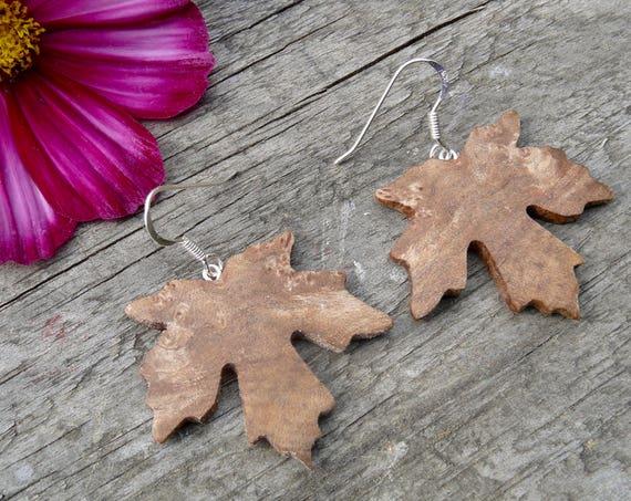 Wood Maple leaf Earrings, Nature inspired jewelry, Earthy earrings, Sterling silver maple leaf earrings, Dangle drop earrings, Boho Earrings