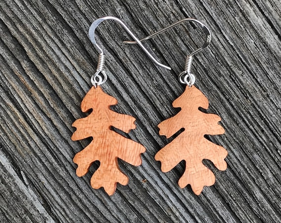 Wood Earrings, Oak Leaf earrings, Sterling Silver leaf earrings, Natural jewelry, Leaf Jewelry earrings, Earthy earrings, Nature lover