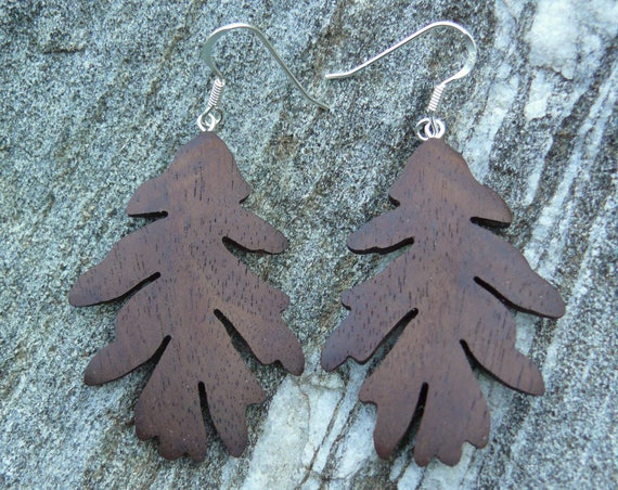 Oak leaf earrings silver, Wooden Jewelry, Dangle drop leaf earrings, Leaf earrings sterling silver, Wooden leaf jewelry, Nature lover gift