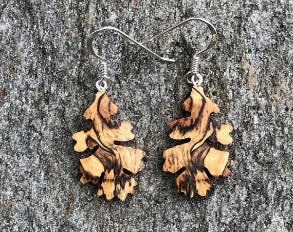 Wood Earrings, Oak Leaf earrings