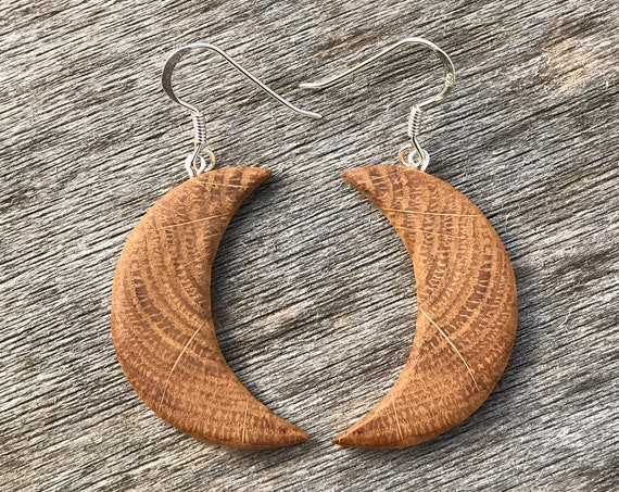 Large Moon Earrings, Crescent Moon