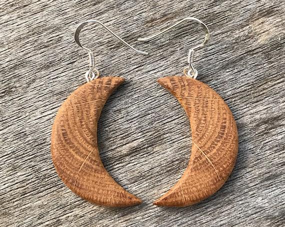 Large Moon Earrings, Crescent Moon