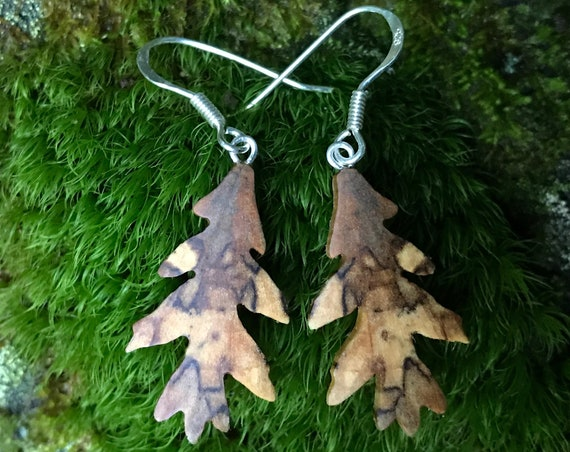 Wooden Oak Leaf Earrings, Sterling