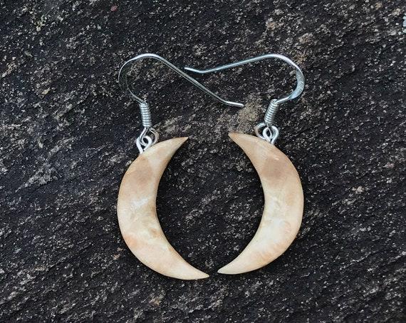 Wood Crescent Moon Earrings