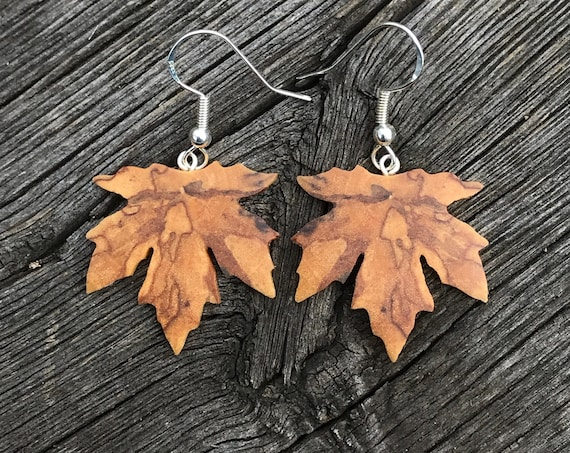 Wooden Maple leaf Earrings, Nature inspired jewelry
