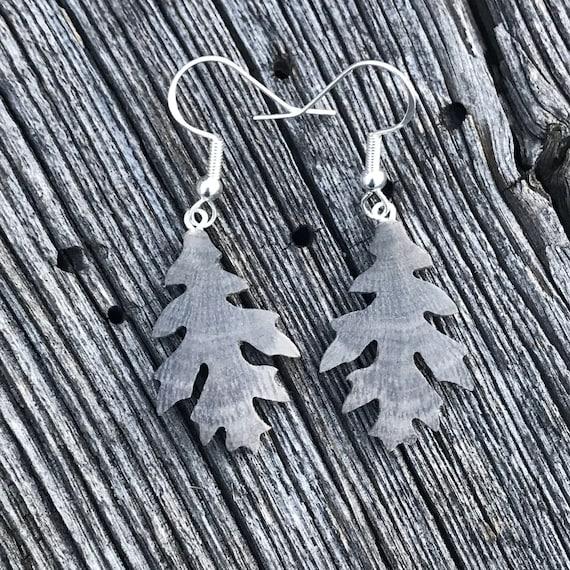 Wooden Oak Leaf earrings