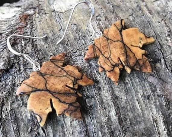 Wood Maple leaf Earrings, Nature inspired jewelry, Earthy earrings, Sterling silver maple leaf earrings, Botany lover Earrings