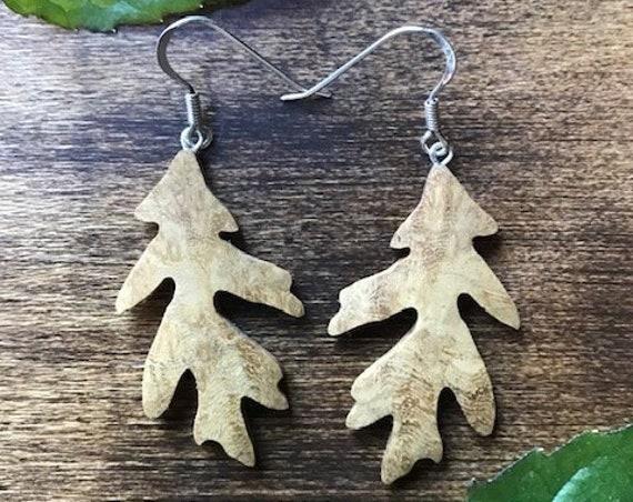 Oak leaf wood earrings~Wooden jewelry-Natural wood earrings-Unique gift for her-sterling silver earrings- Eco- Boho